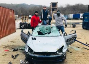 Car smashing EVG prague
